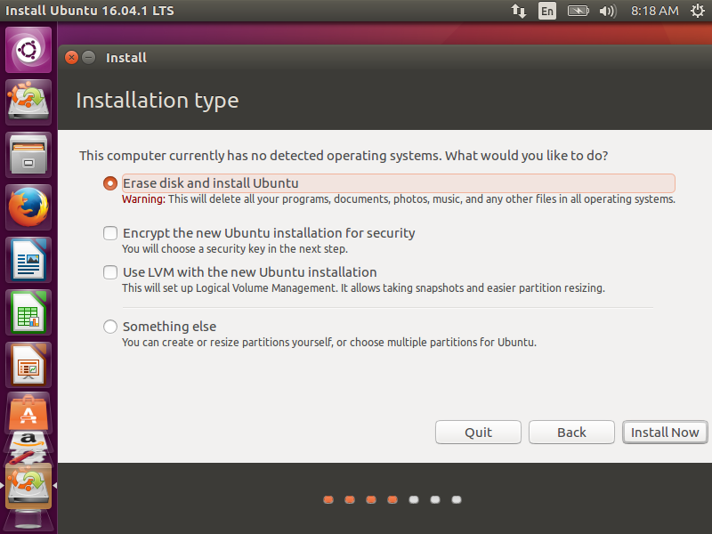 Pilihan default pertama, Installer melakukan partisi otomatis